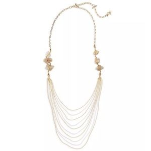 Nakamol Agate Layered Chain Gold Beige Necklace